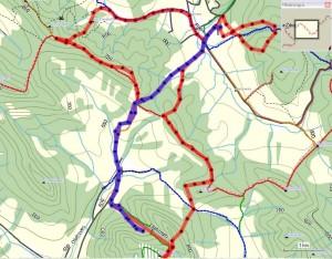 Niebieski ślad trasy