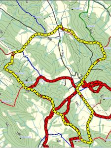 trasa oznaczona żółtymi znakami